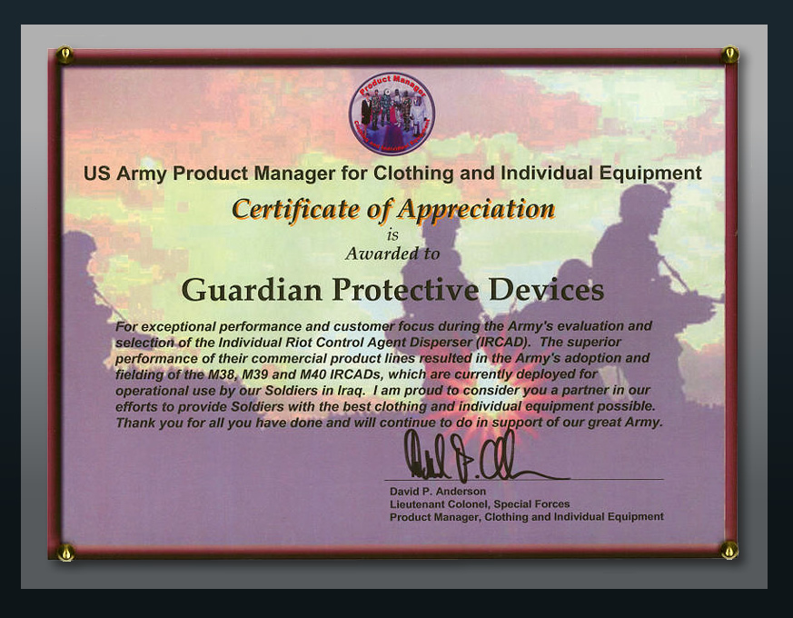 Certificate of Appreciation Military Plaque – Army Certificate of Appreciation
